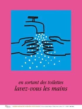 En Sortant Des Toilettes Lavez Vous Les Mains Autocollant