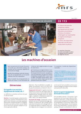 Les machines d'occasion