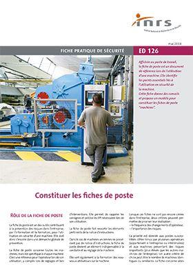 0839923b51e Constituer des fiches de poste - Brochure - INRS