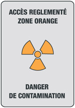 zone contrôlée orange, danger de contamination