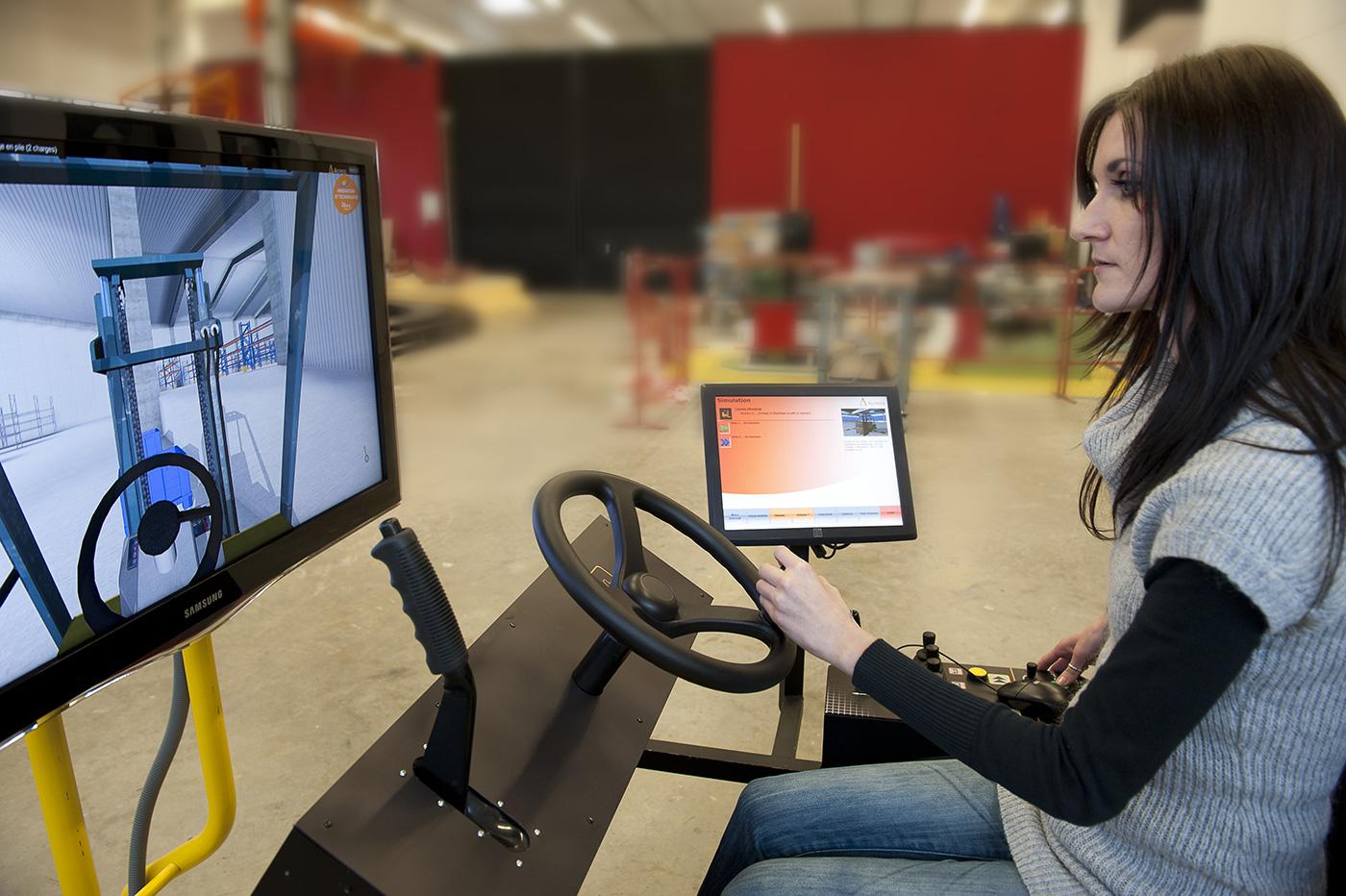 simchar simulateur de conduite de chariot l vateur services aux entreprises inrs. Black Bedroom Furniture Sets. Home Design Ideas